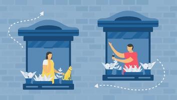 éloignement social du concept de fenêtre vecteur