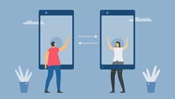 communication en ligne avec la technologie smartphone vecteur