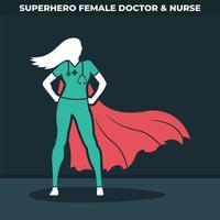 super-héros femme médecin vecteur