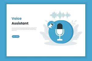 modèle de page de destination de l'assistant vocal vecteur