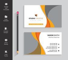 carte de visite de conception vague orange