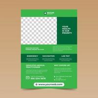 flyer de soins de santé design simple vert