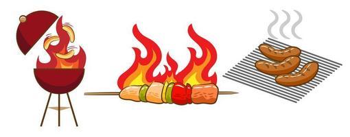 ensemble de nourriture barbecue vecteur