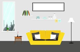 salon de style plat avec canapé jaune