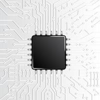 micropuce noire sur motif de circuit blanc vecteur