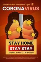 rester à la maison, souci de santé éviter le contact social affiche vecteur
