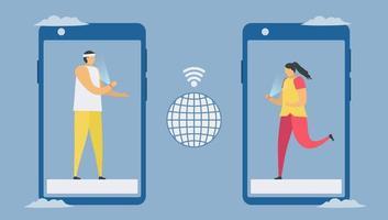 communication en ligne avec le concept de distanciation sociale du smartphone vecteur