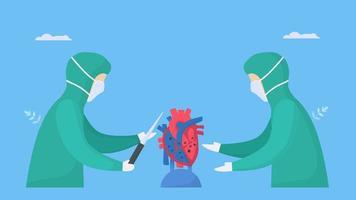 chirurgiens opérant un cœur malade
