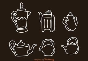 Icônes arabes de pot de cafe et de bouilloire