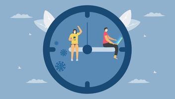distance sociale sur horloge vecteur