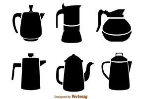 Icônes noires de pot de café