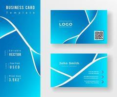 modèle de carte de visite dégradé bleu avec des lignes blanches