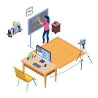 enseignant en direct streaming et écriture sur tableau noir