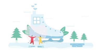 couple, patinage glace, devant, patinoire glace, maison
