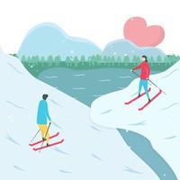 couple, ski, vers, autre, montagne vecteur