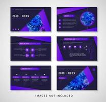 modèle de présentation de coronavirus violet et bleu brillant