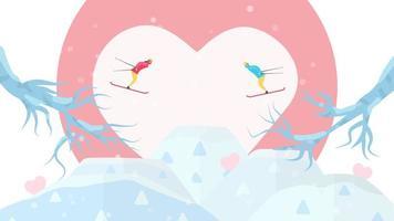 couple ski face à face vecteur