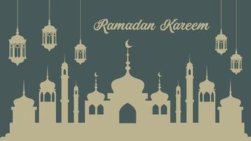 affiche du ramadan avec lanternes et silhouette de la mosquée vecteur