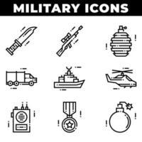 éléments militaires et icônes d'armes, y compris grenade vecteur