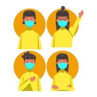 femmes masquées avec différentes coiffures et poses