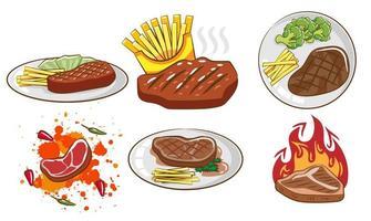 ensemble de repas de steak vecteur