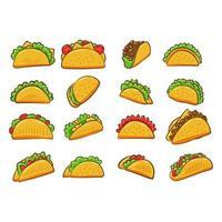 ensemble de collection de tacos vecteur