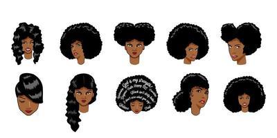 ensemble de femme afro-américaine vecteur
