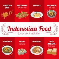 affiche de cuisine indonésienne vecteur
