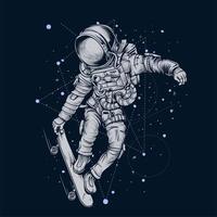 planche à roulettes astronaute dans l'espace vecteur