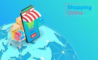 boutique mobile en ligne et panier sur globe