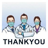 professionnels de la santé portant des masques sur demi-teinte bleue vecteur
