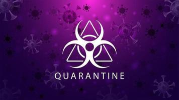 affiche de coronavirus rose brillant avec signe de quarantaine