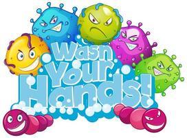 lavez votre conception de type de mains vecteur
