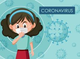 conception d'affiche coronavirus avec fille portant un masque