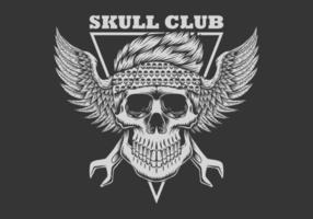 motard club crâne vecteur