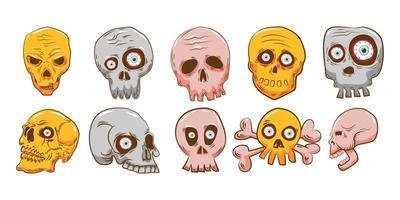 ensemble de crâne effrayant de dessin animé vecteur