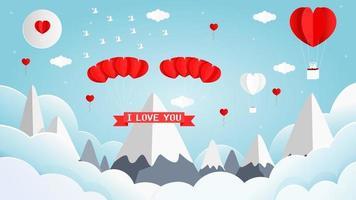 ballons à air chaud en forme de coeur design valentine vecteur