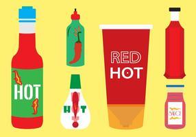 Ensemble vectoriel de bouteilles de sauce