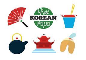 Icônes alimentaires coréennes vecteur