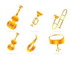 Icônes d'or pour instruments de musique vecteur