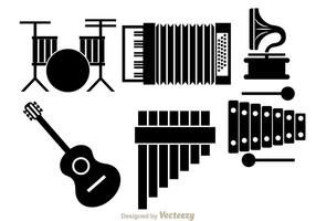Instrument de musique Icônes noires vecteur