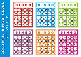 Cartes de bingo colorées vecteur gratuit