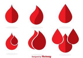 Icônes de gouttes de sang vecteur