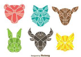 Tête colorée d'animal polygonale vecteur
