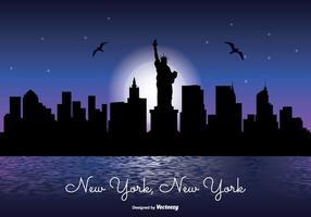 New York skyline illustration de la nuit vecteur