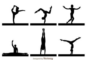 Silhouettes de gymnaste vectorielle