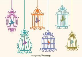 Vecteurs de cage d'oiseaux vintage colorés