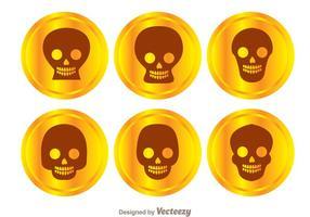 Vecteurs de crâne en monnaie d'or vecteur