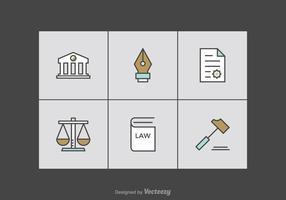 Icônes de vecteur de ligne de bureau de droit gratuit