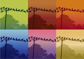 Oiseaux sur les lignes téléphoniques vecteur
